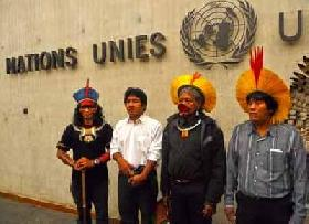 RAONI, leader of Kayapo, at the United Nations, Geneva, 30 September 2011