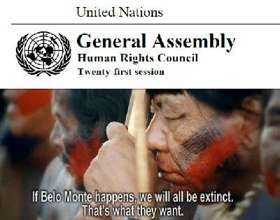 Nations Unies, Conseil des Droits de l'Homme : droits des peuples autochtones et grands barrages – le cas du Brésil